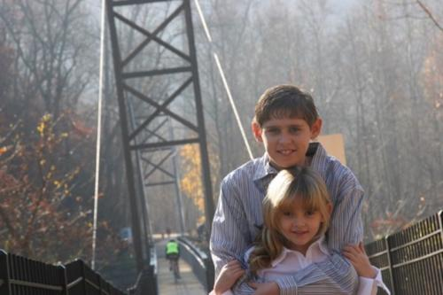 Brother and Sister on A Bridge